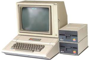 "Apple II Computer with 5.25"" floppy drives"